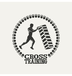 Cross training man silhouet logo vector