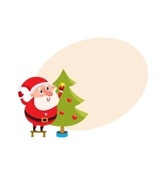 Cute and funny santa claus decorating a christmas vector