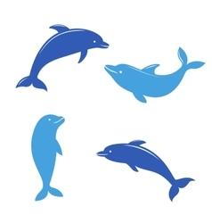 Dolphin silhouettes on the white background vector
