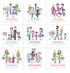 family shopping web banners set in flat design vector image