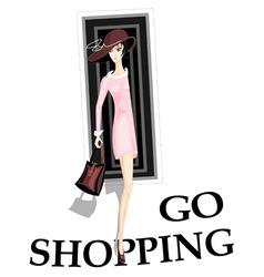 girl go shopping vector image
