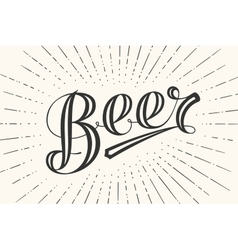 Hand drawn lettering beer on chalkboard background vector