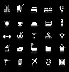 Hotel icons with reflect on black background vector