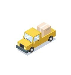 Isometric yellow wagon car with boxes minivan vector