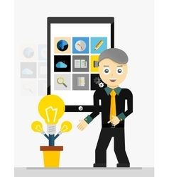 Mobile app startup idea Young businessman showing vector image