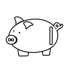 Piggy save money bank line vector