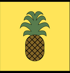 Pineapple icon in flat style isolated vector