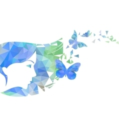 Polygon girl and butterflies vector