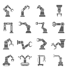 Robotic arm black icons set vector