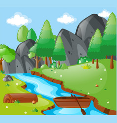 scene with river and mountains vector image