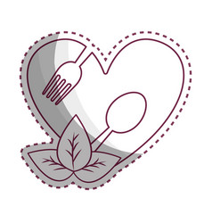 Sticker heart with spoon and fork inside with vector