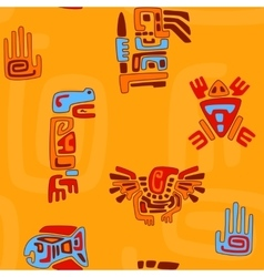 tribal pattern with stylized animals and symbols vector image vector image