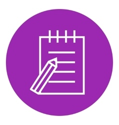 Writing pad and pen line icon vector image vector image