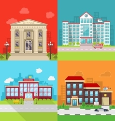 Set municipal buildings - city hall hospital vector