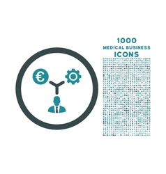 Euro Financial Development Rounded Icon with 1000 vector image