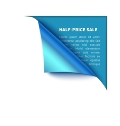 Corner white torn paper with blue background for vector