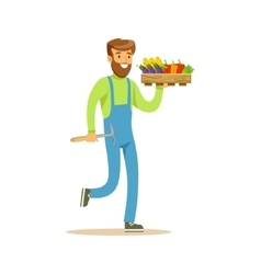 Man with chopper and crate of fresh vegetables vector