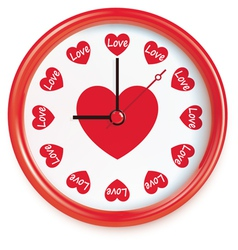 Clock with hearts vector