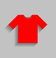 T-shirt sign   red icon with vector
