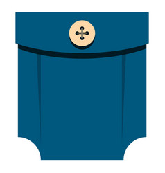 blue shirt pocket with button icon isolated vector image