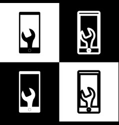 phone icon with settings  black and white vector image