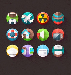 Textured Flat Icons for mobile and web Set 3 vector image