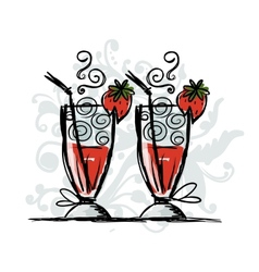 Cocktails with strawberry sketch for your design vector