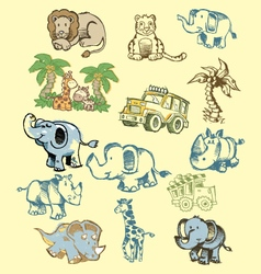 Animals doodles vector