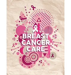 Breast cancer care font pink geometric poster vector