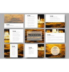 Set of 9 templates for presentation slides night vector