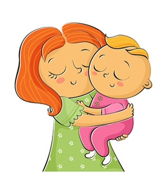 I of mother holding little daughter isolated on vector