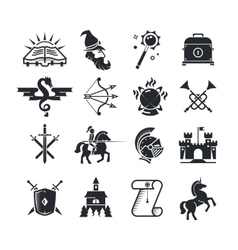 Fantasy tale black icons set vector
