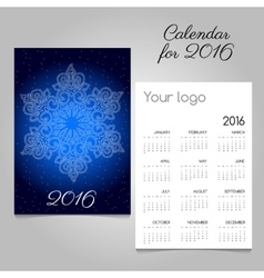 Calendar 2016 with snowflake closeup in starry sky vector