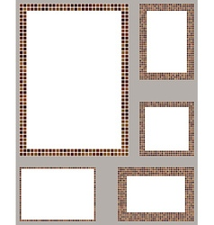 Brown pixel mosaic page layout template set vector