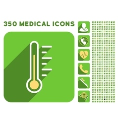 Temperature level icon and medical longshadow icon vector