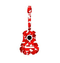 Guitar with red hearts vector