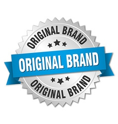 Original brand 3d silver badge with blue ribbon vector