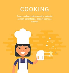Female cartoon character chief with mixer cooking vector