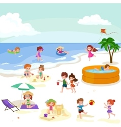 Children summer vacation kids playing sand around vector