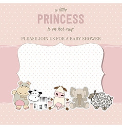 Shabby chic baby girl shower card vector