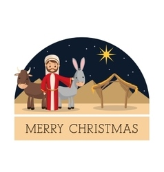 Joseph icon merry christmas design vector