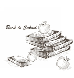 Apple and Books engraving style vector image