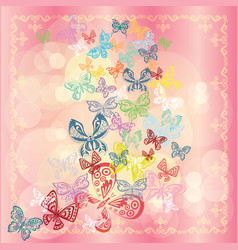 Butterfly set isolated on pink background vector
