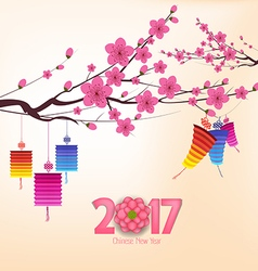 Chinese new year 2017 background with lantern and vector