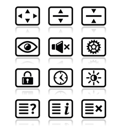 Computer tv monitor screen icons set vector image vector image