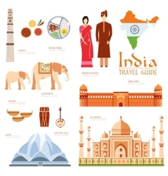 Country india travel vacation guide of goods vector
