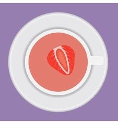 cup of tea with strawberry vector image vector image
