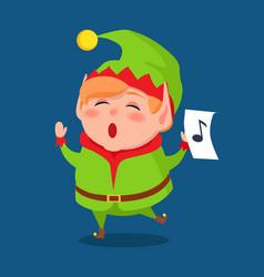 Cute elf singing carol songs vector