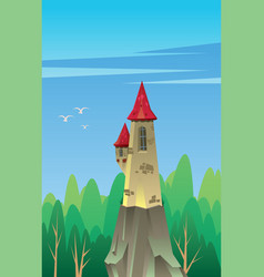 Digital castle with red roof vector