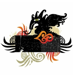 Dragons grunge design element vector image vector image